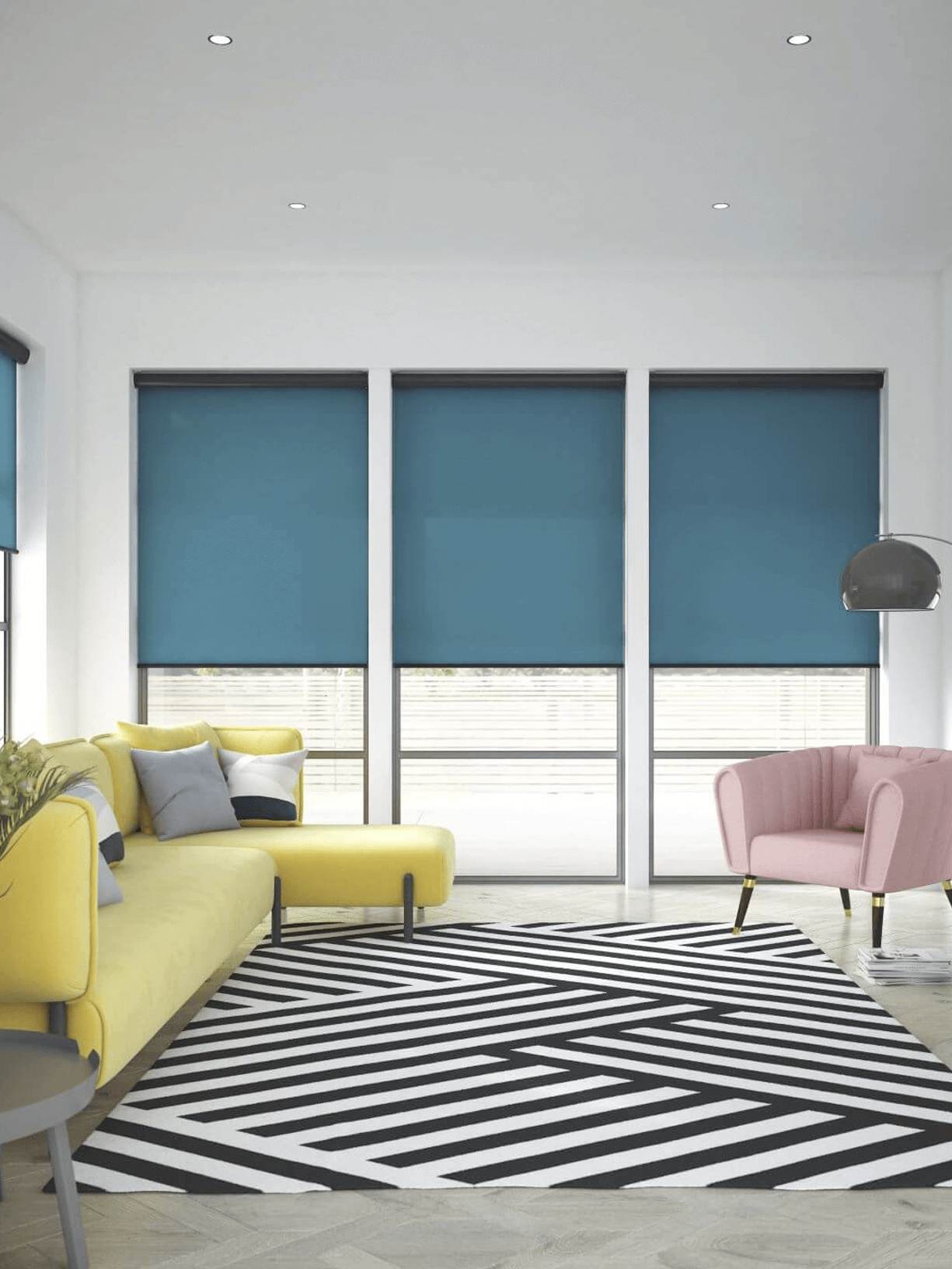 Lounge window Blackout roller blinds blue