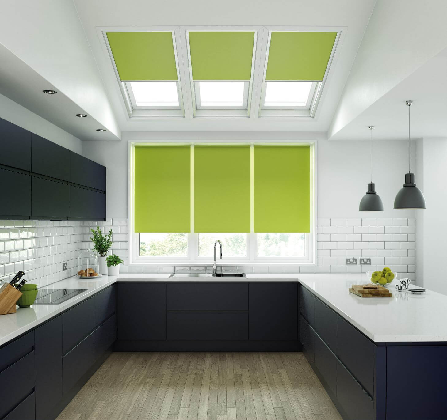 Why, Blinds lime green